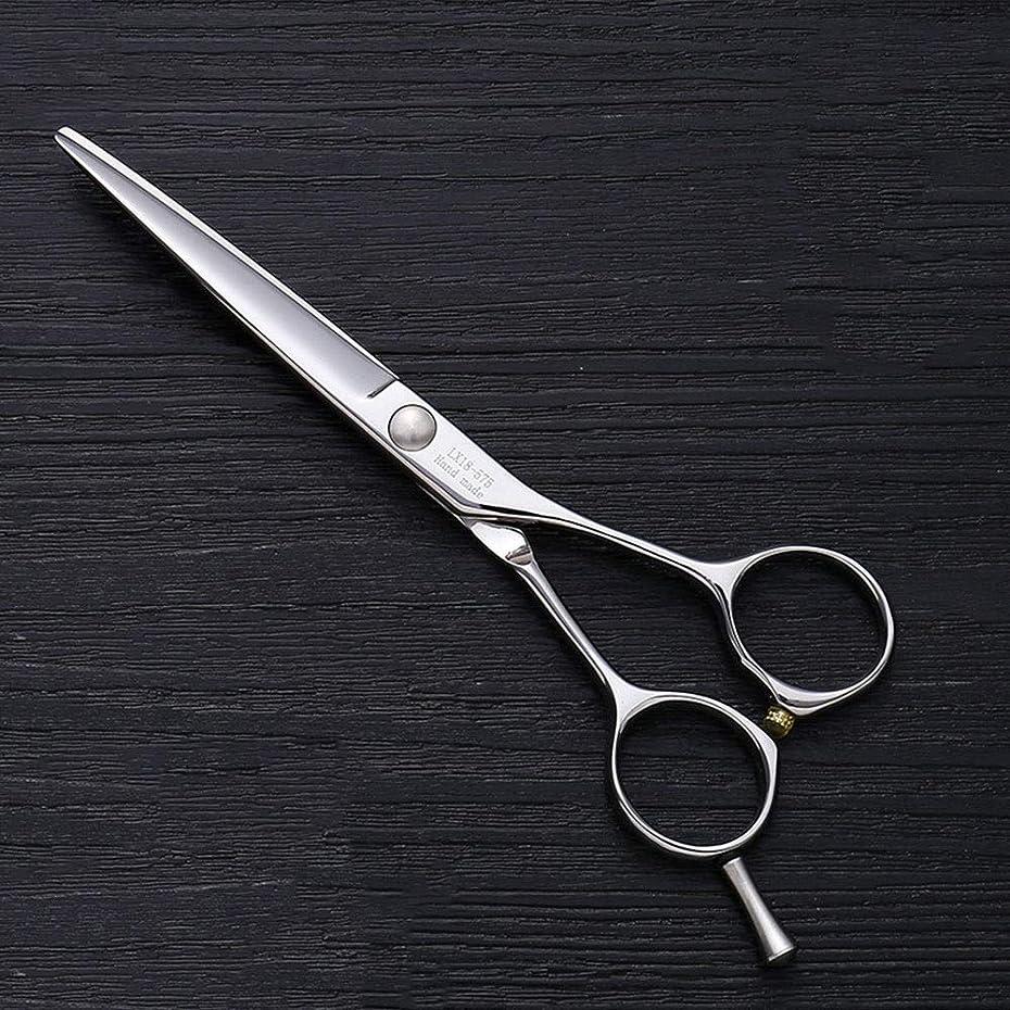 爬虫類コンペ無人理髪用はさみ 5.5インチ理髪はさみ、ヘアスタイリスト特別な単語カット平せん断ヘアカットはさみステンレス理髪はさみ (色 : Silver)