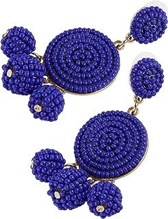 Tbestmax Fashion Statement Drop Earrings for Women Dangle Beaded Earring Hoop Ear Ring Round Whimsical Handmade Blue