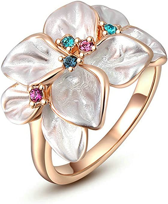 Yoursfs Cubic Zirconia Snowflake Ring for Women Girls 18K White Rose/Gold Plated CZ Jewelry Fashion Flower Ring