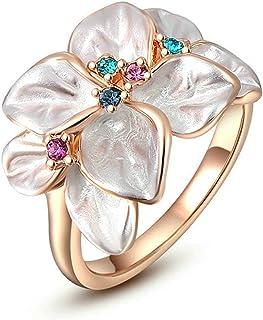 مجوهرات يورسفس العصرية للنساء خاتم زهرة كريستال أنيق - خاتم بيان الزهور