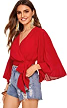 SweatyRocks Women's Long Sleeve V Neck Sheer Panel Tie Hem Wrap Blouse Shirt Top