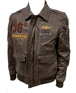 Aeronautica Militare Chaqueta de piel PN5010PL 36O torneada, para hombre, color marrón humo, piloto, chaqueta, chaqueta (n...