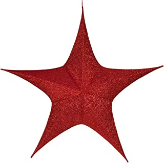 Hanging Star Decoration, Christmas Decoration Star Decoration Party, 4th of July Star Home Decorations, Ultra Lightweight, Fabric Covered, Fold Flat Metal Frame (54 Inch, Red Metallic Mesh)
