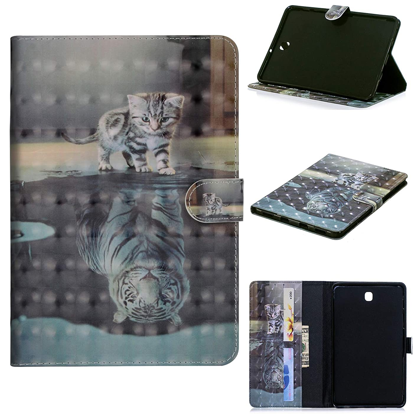 Galaxy Tab S2 8.0 PU Leather Case, CASE4YOU Flip Card Slots Wallet Book Style Stand Cover Shockproof Bumper with Wake Up/Sleep Cat Tiger for Samsung Galaxy Tab S2 8 Inch SM-T710/715/713/719