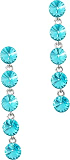 MOONSTONE Dazzling Multi Layered Round Swarovski Elements Dangle Sterling Silver Fashion Earrings For Women