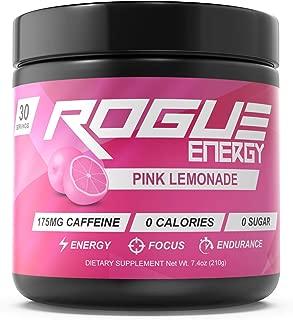 Rogue Energy - Gaming Drink for Hours of Energy & Focus, Esports & Gamer Supplement, Sugar & Gluten Free (Pink Lemonade Tub 30 Servings)