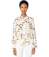 Vince - Tropical Blooms Shirred Back Blouse