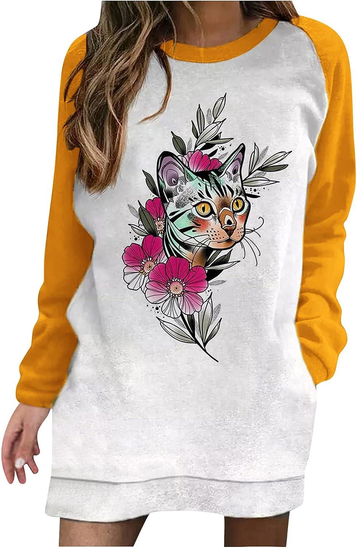 Women's Relaxed Fit Sweatshirt Dress Ladies Long Sleeve Casual Dress Cat Print Midi Club Dress