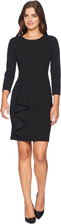 Long Sleeve Crepe Dress with Asymmetrical Ruffle Skirt