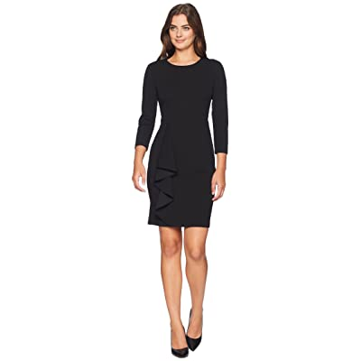 Donna Morgan Long Sleeve Crepe Dress with Asymmetrical Ruffle Skirt (Black) Women