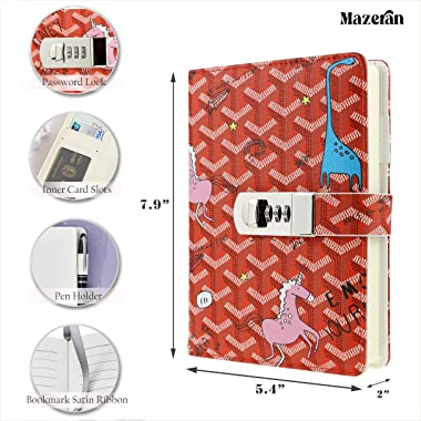 MAZERAN Combination Lock Journal, Canvas Hard Cover Patterned Notebook Cute Diary, B6 Ultra Thick Lined Password Locking Pers