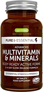Pure & Essential Methylated Multivitamin & Minerals with Iron, Methylfolate, Vitamin D3 & K2, Timed Release, Vegan, 60 Tablets