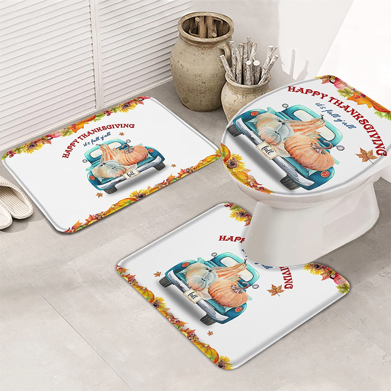 3 Piece Complete OFFer Free Shipping Bathroom Rugs Set Non Mat Thanksgivi Slip Bath Happy