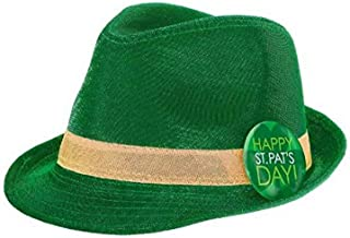 """Amscan 396737 Party Hat St. Patrick's Day Shimmer Fedora Party Supplies, Green, 4 1/2"""" x 10 3/4"""""""