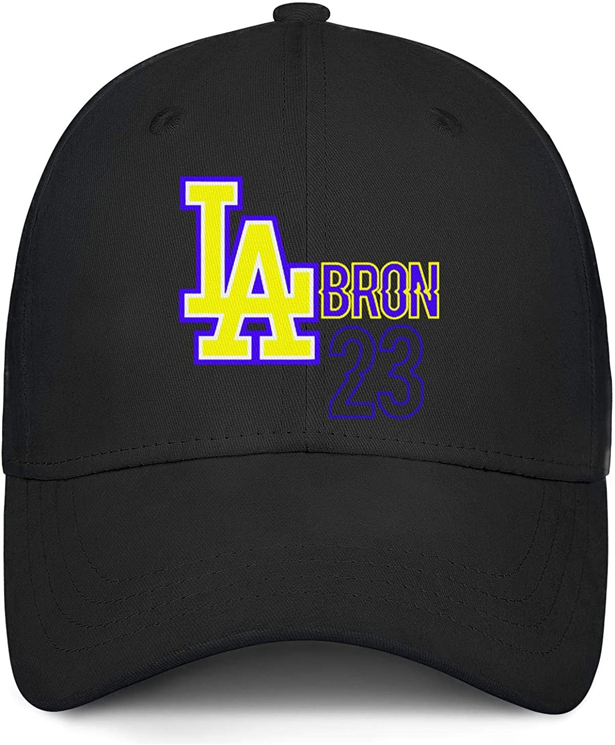 Unisex Polo Style Baseball Cap LAbron-23-yellow/_King California Fitted Embroidered All Cotton Trucker Cap