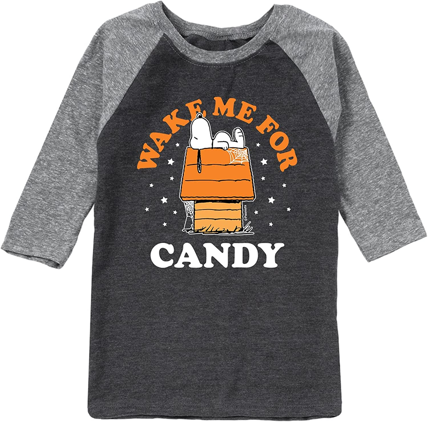 Peanuts - Wake Me for Candy - Toddler and Youth Raglan Graphic T-Shirt