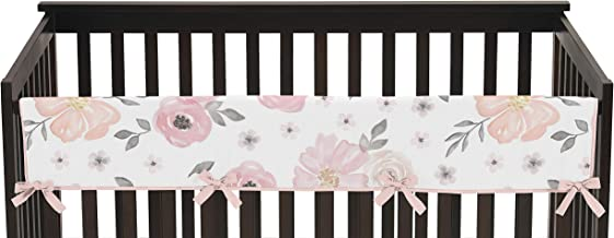 Blush Pink, Grey and White Long Front Crib Rail Guard Baby Teething Cover Protector Wrap for Watercolor Floral Collection ...