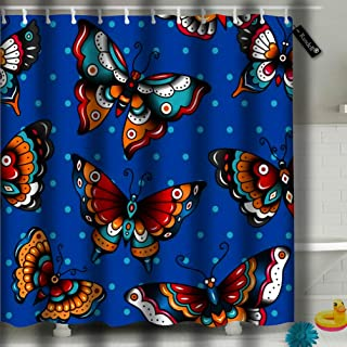 txregxy Shower Curtain Bath Curtain Old School Butterflies On Blue Decorative Modern Bathroom Accessories 72 by 3728 Inches 66