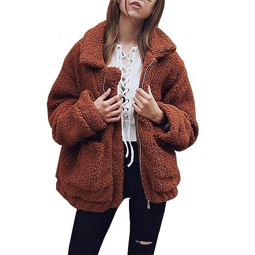 16b46125f29 PRETTYGARDEN Women s Fashion Long Sleeve Lapel Zip Up Faux Shearling Shaggy  Oversized Coat Jacket with Pockets