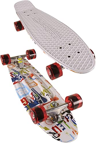 27-inch Vintage Skateboard - Skate for Beginners and Professionals - Shortboard for Kids and Adults - Stylish Board with Interchangeable Wheels