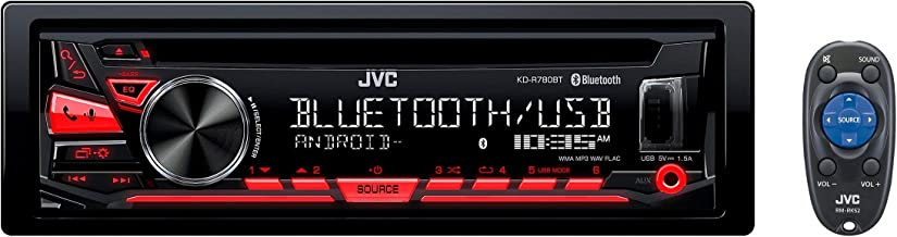 JVC KD-R780BT 1-DIN CD Receiver with Bluetooth and JVC App Remote (Renewed)