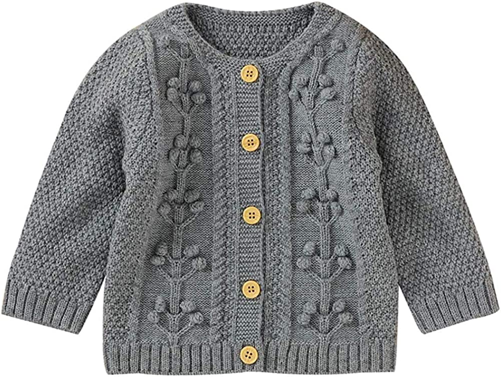 MoccyBabeLee Toddler Baby Girl Cardigan Sweater Long Sleeve Button Down Knitwear Outerwear Fall Winter Floral Warm Clothes