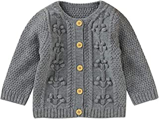 Carolilly Baby Girls Knitted Cardigan with Button Closure Knitted Jumper Winter Jacket