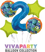 Monsters University Round Balloon Bouquet 5 pc, 2nd Birthday, Blue Number 2 Jumbo Balloon | Viva Party Balloon Collection