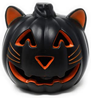 Holiday Home Halloween Black Cat Light Up Pumpkin 7.5 Inches (Orange/Black)