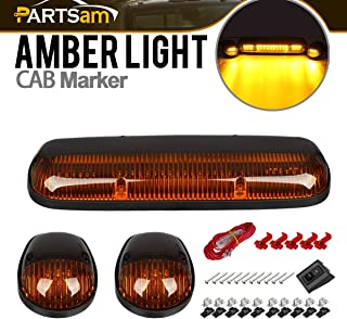 Partsam 3PCS Amber LED Cab Roof Marker Light Top Running Lights w/Wiring Compatible with Chevrolet Silverado/GMC Sierra 1500 1500HD 2500 2500HD 3500 2002 2003 2004 2005 2006 2007 Pickup Trucks