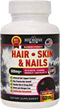 Rocky Mountain Vitamins 500mg Hair, Skin, and Nails Supplement (60 Veggie Capsules, 30 Day Supply) - Natural Organic Blend of Biotin, Vitamin B6, Folic Acid and Other Vitamins and Minerals