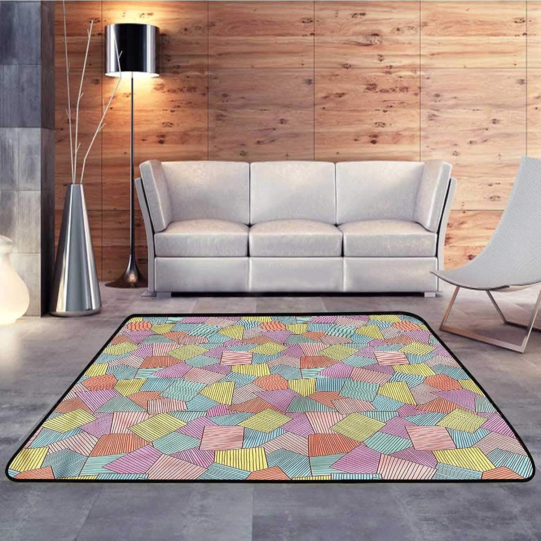 Kids rugsGeometric,Tile Pattern StripesW 55  x L63 Slip-Resistant Washable Entrance Doormat