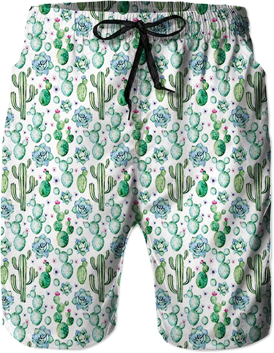 NC Men's Swim Trunks Quick Dry Beach Board Shorts Drawstring Lightweight with Elastic Waist and Pockets,Hand Painted Exotic Plant Saguaro Prickly Pear Succulents Spikes Arrangement M