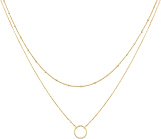Layered Heart Necklace Pendant Handmade 18k Gold Plated Dainty Gold Choker Arrow Bar Layering Long Necklace for Women