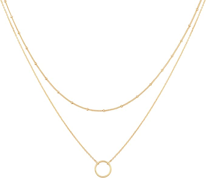 Mevecco Layered Heart Necklace Pendant Handmade 18k Gold Plated