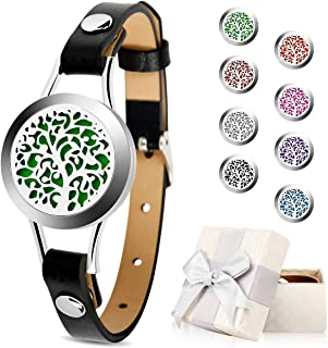 Essential Oil Diffuser Bracelet,Aromatherapy Bracelet Jewelry 316L Stainless Steel Locket Leather Band with 8pcs Washable Refill Pads Gifts for Women,Girlfriend, Mother,Sister,Aunt.