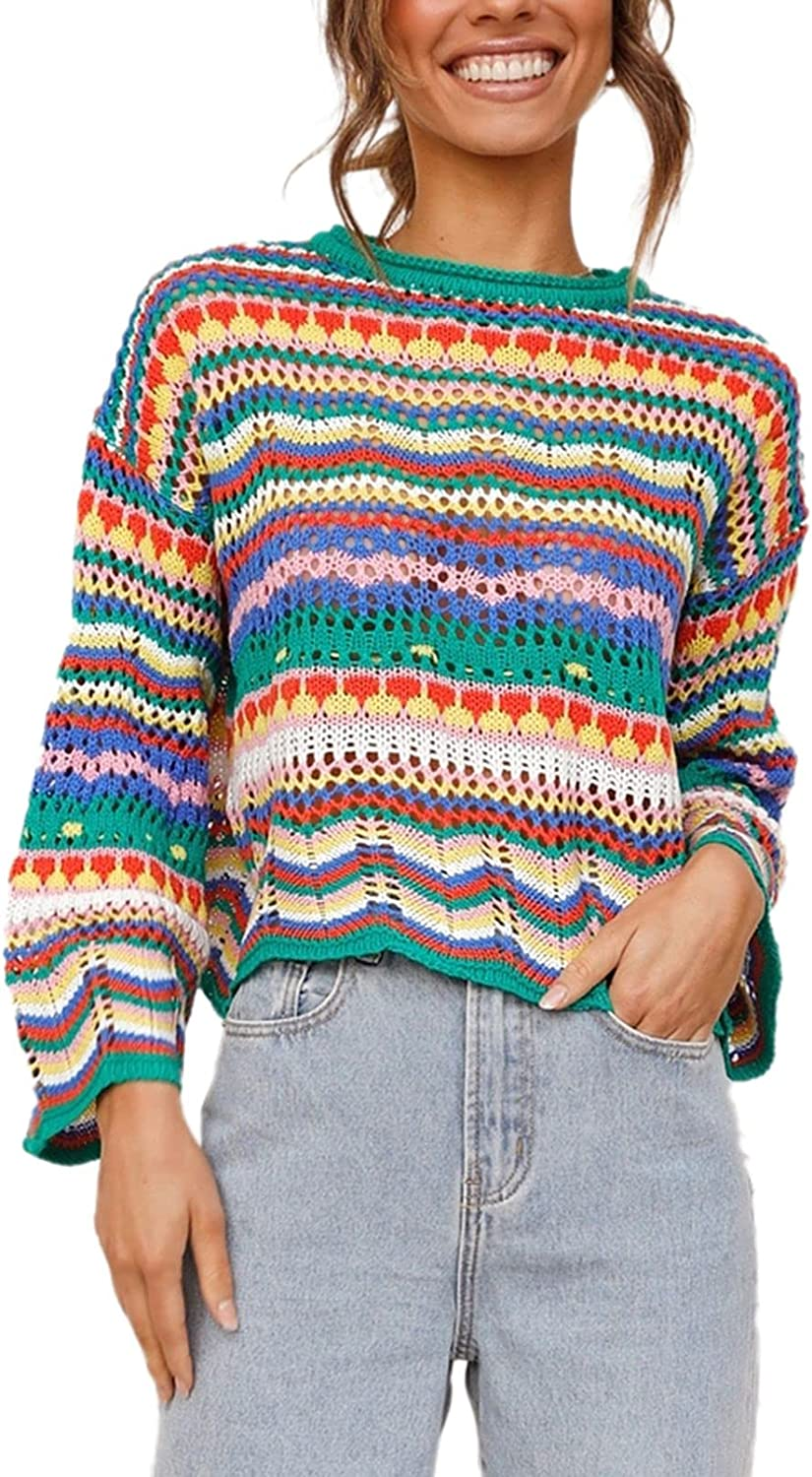 HAPCOPE Women's Striped Oversized Pullover Sweaters Bell Bottom Sleeve Crewneck Knit Jumper Crop Tops