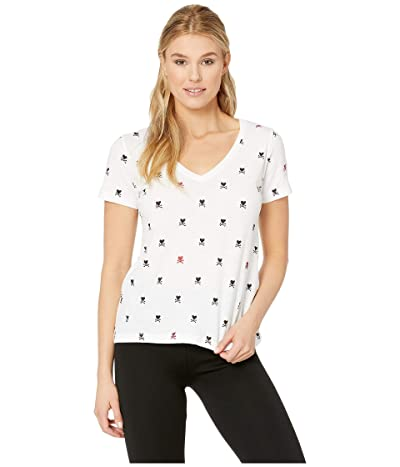 Lucky Brand Foil Hearts Crossed Tee (Lucky White) Women