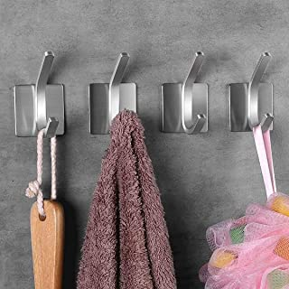 Self Adhesive Hooks/Towel Hooks-Heavy Duty Wall Hanger Hanging for Robe Coat Bag Stick on Wall - Bathroom Kitchen Office O...