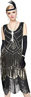 YENMILL Women's 1920s Gatsby Inspired Sequin Beads Long Fringe Flapper Cocktail Dress