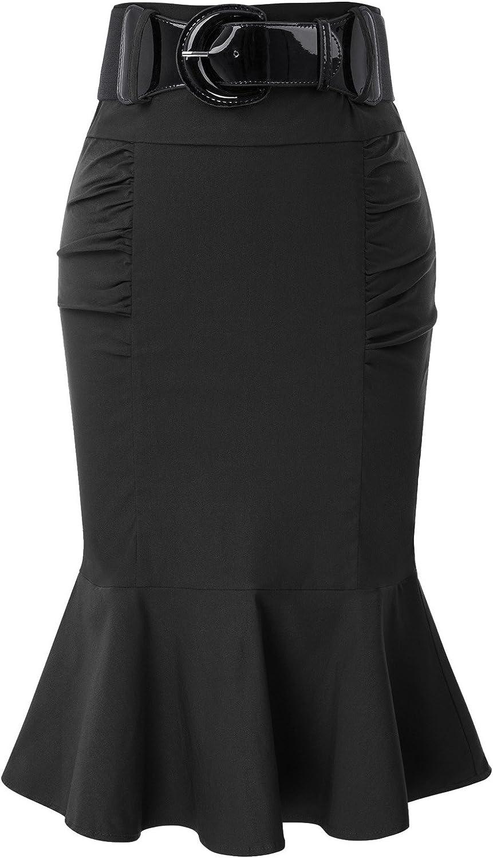 Belle Poque Women's Pencil Skirt with Belt BP627