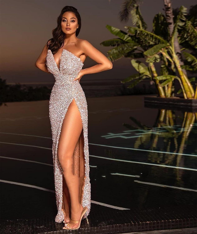Dress Sexy Split Luxury goods Sequined Evening Pink S Sleeve Jacksonville Mall Prom