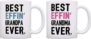 Grandma Grandpa Gifts Best Effin Grandma and Grandpa Ever Bundle Funny Grandparent Gifts 2 Pack Gift Coffee Mugs Tea Cups White