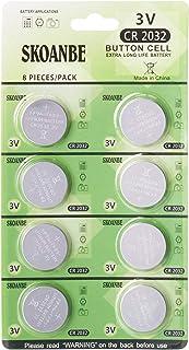 SKOANBE CR2032 2032 3V Button Coin Cell Lithium Battery(8Packs)