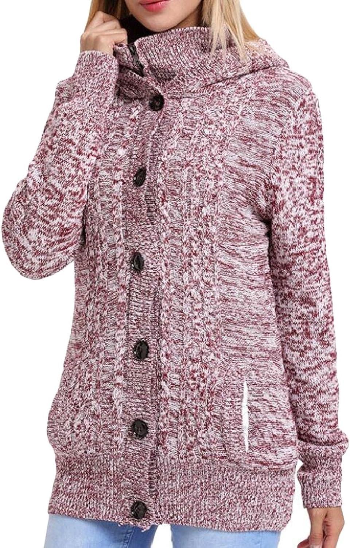 Jxfd Women Button Down Long Sleeve Soft Knit Hooded Cardigan Sweater