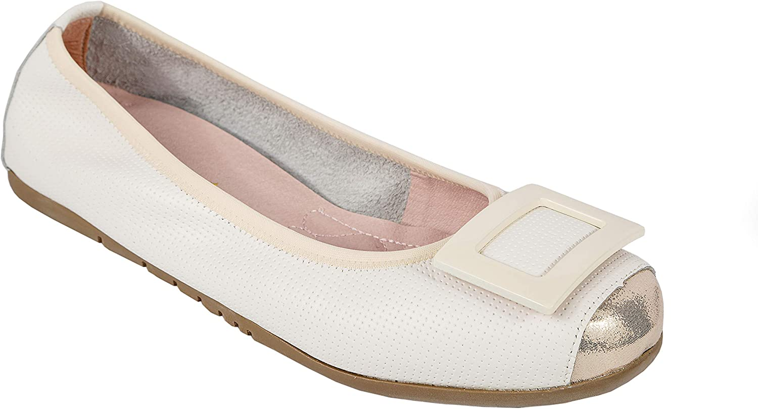 Sam Star Premium Soft Comfortable Slip-On Modern with Genuine Leather Casual Square Toe Flat Buckle Design for Woman.
