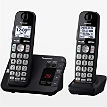 $50 » PANASONIC DECT 6.0 Expandable Cordless Phone System with Answering Machine and Call Blocking - 2 Handsets - KX-TGE432B (Black) (Renewed)
