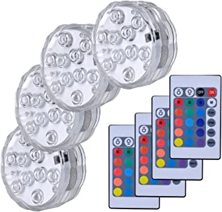 Hitopin HP-LED4 Submersible LED Lights,Waterproof Underwater Remote Controlled Battery..