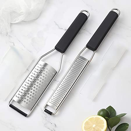 Stainless Steel/Kitchen Zester for Fruit Nuts Soft Ergonomic Handle /& Sharp Blade Cheese Plane Server Cheese and Zest Vegetables 2 Pcs//Set Vech Cheese Grater and Slicer Set Garlic