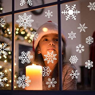 48 PCS Removable Christmas Snowflake Window Decals Stikcers for glass, Christmas and New Year Decoration Supplies